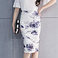 Damer Kineseri I-byen-tøj Knælængde Nederdele Bodycon Delt,Blomstret Trykt mønster Forår Efterår