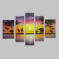 Χαμηλού Κόστους Artist - Gou Gao-ζωγραφισμένα στο χέρι σύγχρονη αφηρημένη καμηλοπάρδαλη ελεφάντων ηλιοβασίλεμα Αφρικανική ελαιογραφία τοπίο 5pcs καμβά / που κανένα πλαίσιο