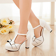 Women's Heels Leatherette Summer Casual Bowknot Chunky Heel White Blushing Pink Light Blue 1in-1 3/4in
