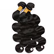 人毛 ブラジリアンヘア 人間の髪編む ウェーブ ヘアエクステンション 3個 ブラック