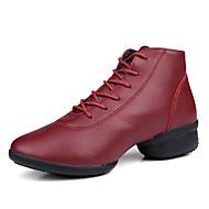 baratos Sapatilhas de Dança-Mulheres Tênis de Dança Courino Sapatilha / Salto Fru-Fru / Franzido Salto Baixo Não Personalizável Sapatos de Dança Preto / Vinho