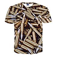 Masculino Camiseta Poliéster Estampado Manga Curta Casual / Formal / Esporte-Dourado