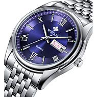 Herrn Kleideruhr Armbanduhr Quartz Japanischer Quartz Kalender Wasserdicht Nachts leuchtend Edelstahl Band Luxus Freizeit Silber