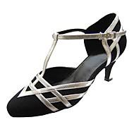"""billige Moderne sko-Dame Latin Moderne Velourisert Sandaler Høye hæler Innendørs Profesjonell Spenne Uthult Kustomisert hæl Svart 1 """"- 1 3/4"""" 2 """"- 2 3/4"""" 3"""