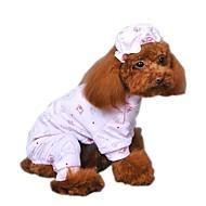 Kat Hund Jumpsuits Pyjamas Hundetøj Sødt Afslappet/Hverdag Tegneserier Gul Blå Lys pink Kostume For kæledyr