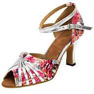 baratos Sapatilhas de Dança-Mulheres Sapatos de Dança Latina / Sapatos de Salsa Cetim Sandália / Salto Presilha / Fru-Fru / Flor Salto Personalizado Personalizável