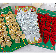12Pcs Bow Christmas Decorations Butterfly Knot Holiday Ornaments