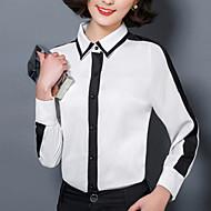 Veći konfekcijski brojevi Majica Žene Color block Kragna košulje Mrežica Lan Poliester