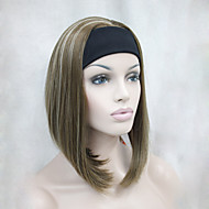 New Fashion Golden Brown with Blonde highlights 3/4 Wig With Headband Women's Short Straight Synthetic Half Wig
