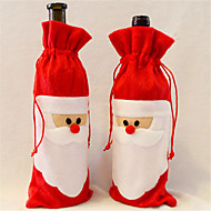 1 Pieces Of red Wine Bottle Cover to Santa Claus Christmas Dinner Table Decoration Home Party