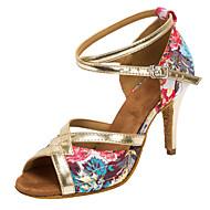 baratos Sapatilhas de Dança-Mulheres Sapatos de Dança Latina / Sapatos de Salsa Paetês / Cetim Sandália / Salto Presilha / Flor Salto Personalizado Personalizável Sapatos de Dança Dourado / Interior / Profissional
