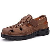 メンズ 靴 レザー 夏 サンダル のために カジュアル ブラック Brown カーキ色