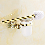 cheap Antique Brass Series-Toilet Brush Holder Bathroom Gadget Contemporary Brass 12.5cm 19.5cm Toilet Brush Holder