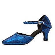 billige Moderne sko-Dame Sko til latindans / Moderne sko Paljett Sandaler / Høye hæler Paljett / Spenne Kustomisert hæl Kan spesialtilpasses Dansesko Blå
