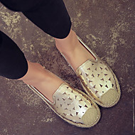 Women's Shoes Leatherette Fall Comfort Loafers & Slip-Ons Flat Heel For Casual Silver Golden