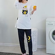 Dame Rund hals Jakkesæt Pyjamas - Trykt mønster, Ensfarvet
