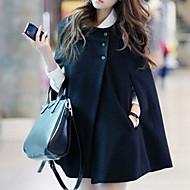 Dámské Denní Základní Podzim Standardní Plášť / Capes, Jednobarevné Kulatý Bez rukávů Polyester Černá / Volné