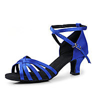 cheap Latin Shoes-Women's Latin Shoes / Ballroom Shoes Satin Heel Chunky Heel Non Customizable Dance Shoes Black / Red / Royal Blue / Leather