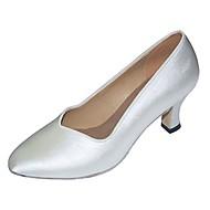 billige Moderne sko-Dame Latin Moderne Sateng Sandaler Høye hæler Profesjonell Innendørs Kustomisert hæl Hvit Kustomisert hæl Kan spesialtilpasses