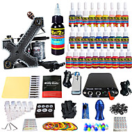 billige Tatoveringssett for nybegynnere-Tattoo Machine Startkit - 1 pcs tattoo maskiner med 28 x 5 ml tatovering blekk, Profesjonell Mini strømforsyning No case 1 x legering tatovering maskin for fôr og skyggelegging