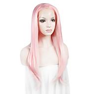 Naisten Synteettiset pitsireunan peruukit Suora Pinkki Lace Wig Halloween Peruukki Carnival Peruukki Rooliasu peruukki