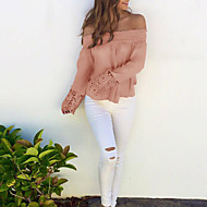 Feminino Camiseta Happy-Hour / Casual Sensual / Fofo Outono / Inverno,Sólido Rosa Poliéster Decote Canoa Manga Longa