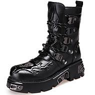 Støvler-Læder-Combat-støvler / Cowboystøvler-Herre-Sort-Udendørs / Hverdag-Tyk hæl