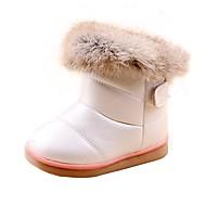 Jenter-Pels Kunstlær-Flat hæl-Komfort-Støvler-Friluft Fritid-Rosa Hvit Mørkerød