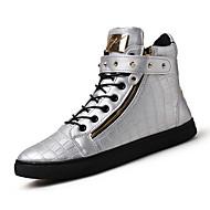 tanie Obuwie męskie-Męskie Tenisówki Comfort Wulkanizowane buty Skóra Wiosna Lato Jesień Zima Casual Comfort Wulkanizowane buty Szurowane Płaski oncasBlack