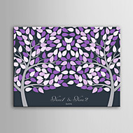 E-HOME Personalized Signature Canvas invisible Frame Print -Purple Two Big Trees