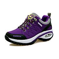 baratos Sapatos Femininos-Mulheres Sapatos Couro Ecológico Primavera / Outono Conforto Tênis Sem Salto Ponta Redonda Cadarço Cinzento / Roxo / Fúcsia