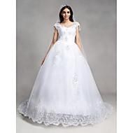 Linha A Decote V Cauda Capela Renda Tule Vestido de casamento com Miçangas Lantejoulas Apliques de QQC Bridal