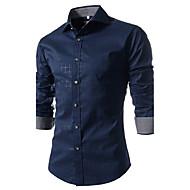 男性用 シャツ ストリートファッション レギュラーカラー スリム チェック コットン