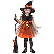 Heks Cosplay Kostumer Festkostume Maskerade Film Cosplay Oransje Kjole CAP konstruktion Halloween Nytår Barnets Dag