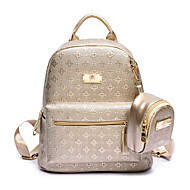 Women Bags All Seasons PU Backpack for Casual Gold Black Beige