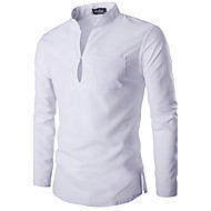 Men's Basic / Chinoiserie Cotton Slim Shirt - Solid Colored Basic Stand / Long Sleeve / Spring / Fall