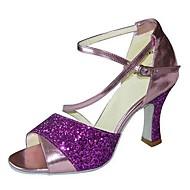baratos Sapatilhas de Dança-Mulheres Sapatos de Dança Latina / Sapatos de Jazz / Sapatos de Salsa Glitter Sandália / Salto Gliter com Brilho / Presilha Salto Personalizado Personalizável Sapatos de Dança Roxo / Verde / Branco