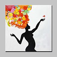 billiga Nude Art-Hang målad oljemålning HANDMÅLAD - Människor / Abstrakta porträtt Moderna Inkludera innerram