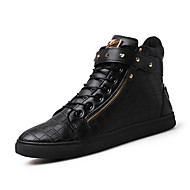 Heren Sneakers Comfortabel Vulcanized Shoes Leer Lente Zomer Herfst Winter Causaal Comfortabel Vulcanized Shoes Veters Platte hakZwart