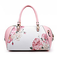 baratos Bolsas Tote-Mulheres Bolsas PU Tote Ziper Floral Preto / Vermelho / Rosa
