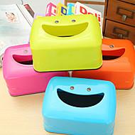 criativa sorriso caixa do tecido face dos desenhos animados caixa de tecido mesa de jantar sorriso (cores aleatórias)