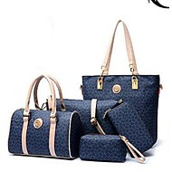 Donna Sacchetti PU (Poliuretano) Tote Set di borsa da 6 pezzi per Casual Per tutte le stagioni Bianco Caffè Blu Rosa