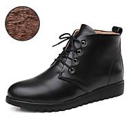 Dame Støvler Komfort Trendy støvler Lær Vår Høst Vinter Avslappet Komfort Trendy støvler Snøring Flat hæl Svart Brun Flat
