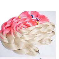 """ג'מבו הוואנה צמות Box סריגה שיער אומלל Kanekalon שחור / אפור שחור / אדום שחור / כחול שחור / סגול שחור / ירוק תוספות שיער 24 """" שיער צמות"""
