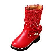 女の子 靴 レザーレット 春 秋 冬 コンフォートシューズ スノーブーツ ブーツ ウォーキング ローヒール ラウンドトウ ジッパー 用途 カジュアル ブラック レッド ピンク