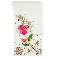 Capinha Para Samsung Galaxy S7 edge S7 Porta-Cartão Carteira Com Strass Com Suporte Flip Corpo Inteiro Flor Rígida Couro Ecológico para