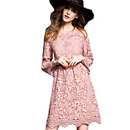 Women's Flare Sleeve Party Casual / Daily Lantern Sleeve Sheath Dress - Jacquard Lace Cut Out Crew Neck Fall Pink