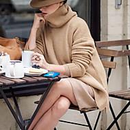 Žene Ulični šik Ležerno/za svaki dan Duga Pullover,Smeđa / Siva Jednobojni Dolčevita Dugih rukava Poliester Jesen / Zima Srednje