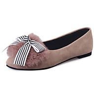 Women's Boat Shoes Comfort PU Fur Winter Casual Walking Comfort Bowknot Flat Heel Black Camel Flat