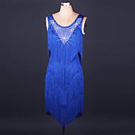 ריקוד לטיני שמלות בגדי ריקוד נשים הצגה ספנדקס / תחרה פרנזים / קריסטלים / אבנים נוצצות ללא שרוולים גבוה שמלה